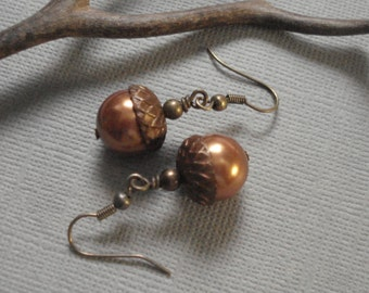 Acorn Earrings, Acorn Copper  Brass  Earrings ONLY - Acorn jewelry, Copper Brass Earrings,  Fall Autumn Acorn Earrings, Fall Wedding Jewelry