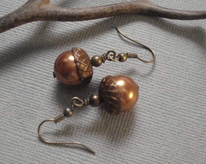 Acorn Earrings, Acorn Copper  Brass  Earrings ONLY - Acorn jewelry, Copper Brass Earrings,  Fall Autumn Acorn Earrings, Fall Wedding Jewelry