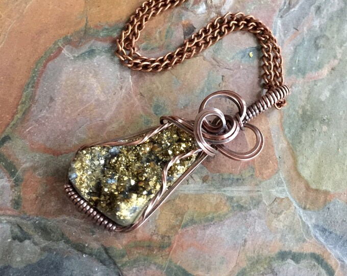 Wire Wrapped Titanium Druzy Necklace in antiqued copper,Titanium Druzy Agate Necklace, Titanium Druzy Pendant, Druzy Agate Copper Necklace