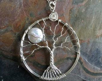 Wire Wrapped Moon Pearl Tree Of Life Sterling Silver, Freshwater Pearl Wire Wrapped Pendant, Moon Tree of Life Pendant,June Birthstone Tree