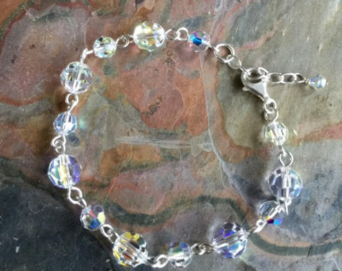 Crystal Bracelet Sterling Silver ONLY, Wedding/Bridal Crystal Bracelet in Sterling Silver, Swarovski  Crystal Bracelet, Crystal Jewelry,