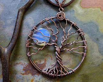 Blue Opalite Full Moon Tree of Life Pendant in Antiqued copper - Wire Wrapped Full Moon Tree of Life, Car Mirror Charm, Charm