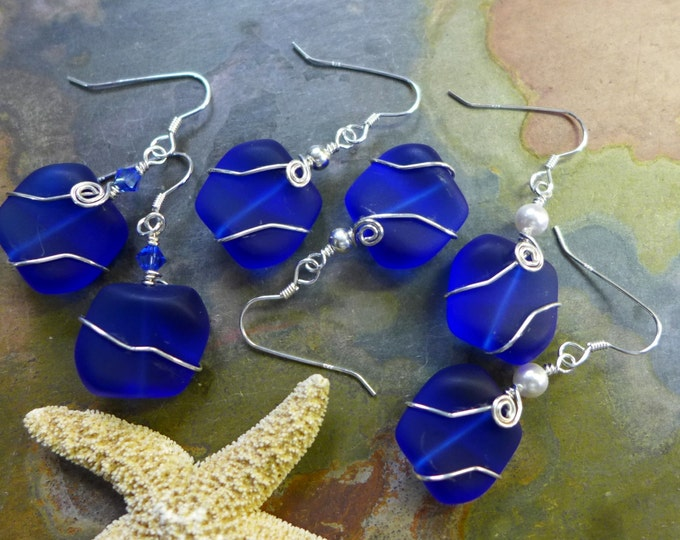 Cobalt Blue Sea Glass Earrings in Sterling Silver, Blue Sea Glass Earrings, Beach Weddings, Blue earrings
