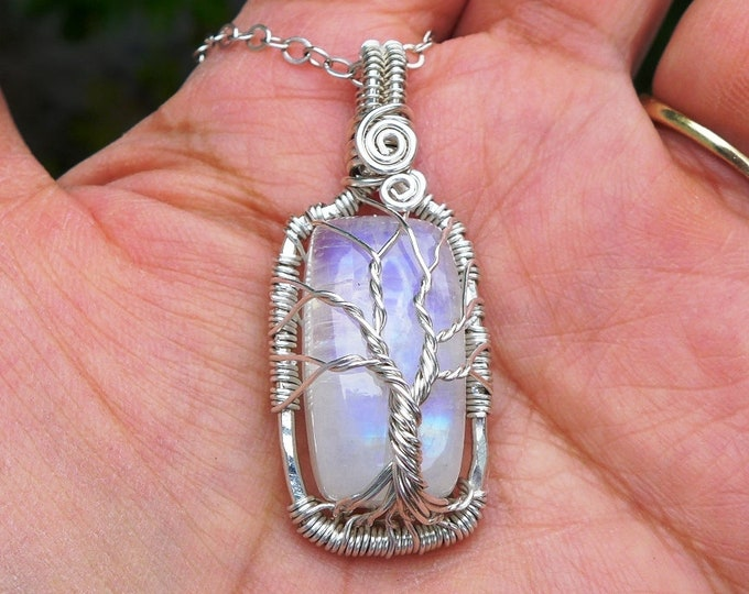 June Birthstone Rainbow Moonstone Tree of Life Necklace in 99.9% Fine Silver,Moonstone Pendant Necklace,Blue Flashing Moonstone Necklace