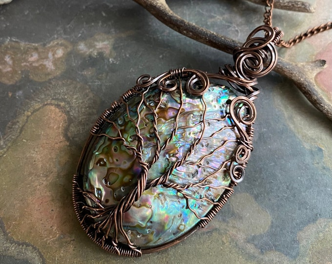 Wire Wrapped Abalone Necklace Antiqued Copper WHOLE PIECE, Abalone Shell Necklace, Abalone Shell Tree of Life Copper Necklace, Paua Shell