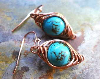 Wire Wrapped Turquoise Earrings, Howlite Turquoise Gemstone Herringbone Dangle Earrings in Copper, Gemstone Copper Earrings,