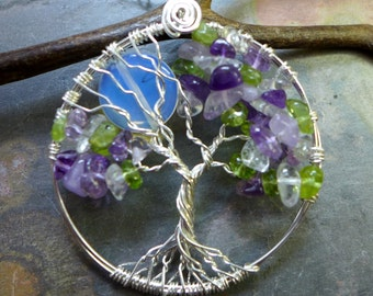 Family Birthstone Tree of Life Pendant /Custom/Personalized Moon Tree of Life Pendant with Birthstones Pendant, Birthday Gift
