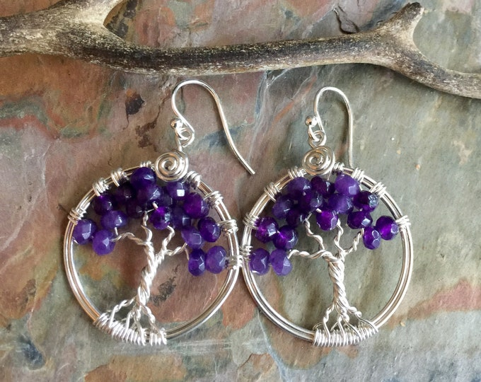 Amethyst earrings,Amethyst Tree of Life Earrings ,February Birthstone Earrings Sterling Silver,Amethyst Earrings,Amethyst Tree Life Earrings