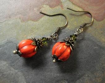 Pumpkin Earrings, Orange Pumpkin Crystal Earrings,Halloween Earrings,Fall/Autumn Harvest Earrings, Thanksgiving Earrings,Orange Earrings