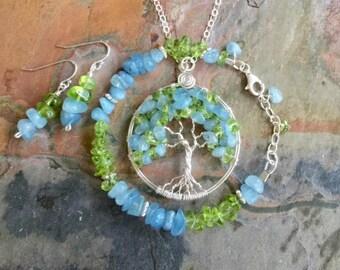 Aquamarine/Apatite/Peridot Necklace/Bracelet /Earring SET, Wire Wrapped Aquamarine/Peridot Jewelry SET,March/August Birthstone