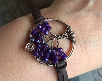 Amethyst Tree of Life Bracelet Leather,Amethyst Tree of Life Bracelet,Custom Tree of Life Leather Bracelet,February Birthstone Tree of Life