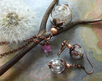 Dandelion Jewelry,Dandelion Seed Flower Pearl Copper Necklace, Dandelion Earrings, Make a Wish Gift,Birthday Gift,Bridal/Bridesmaid Jewelry