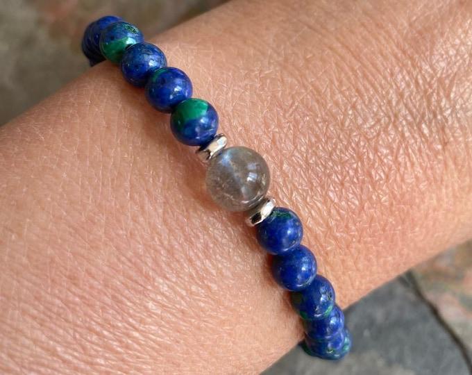 Azurite Bracelet,September Birthstone Bracelet,Azurite Labradorite Stretch Bracelet,Yoga Bracelet, Healing gemstone bracelet,Yoga bracelet
