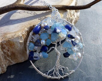 Lapis Necklace,September Birthstone Necklace,Lapis Pearl Tree of Life Necklace-Aquamarine/Lapis /Opalite/Pearl/Moonstone Tree of Life