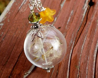 Dandelion Necklace Sterling silver, Dandelion Crystal Pearl  Silver Necklace, Wish Gift, Wish Jewelry,