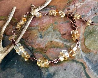 November Birthstone Bracelet, Citrine Bracelet in Antiqued Copper, Citrine Copper Bar Bracelet, Wire Wrapped Citrine Copper Bracelet,