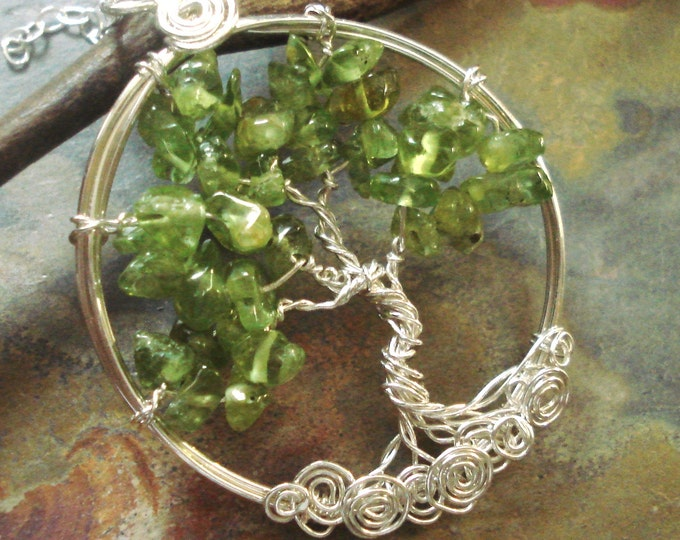 Tree of Life Necklace with Sterling Silver Chain, Tree of Life Necklace -Wire Wrapped Peridot  Necklace- August Birthstone Tree of Life,