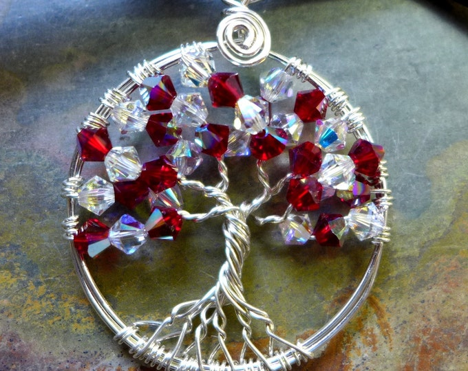 Sterling Silver Petite/Mini Swarovski Crystal Tree of Life Pendant, Wire Wrapped Tree of Life  Necklace, July Birthstone,Valentine Gift