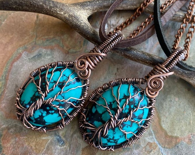 Wire Wrapped Turquoise Tree of Life Necklace, Antiqued Copper Turquoise Pendant Necklace,Turquoise Pendant, Mothers Day Gift, Gifts for her