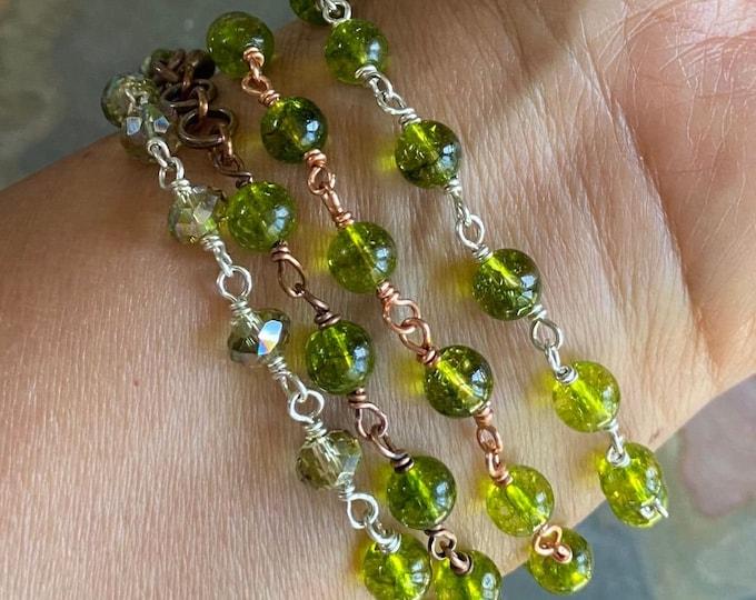 Wire Wrapped Peridot  Link Bracelet, Peridot Bracelet,August Birthstone Bracelet in Sterling Silver,Copper Antiqued Copper,Stacking Bracelet