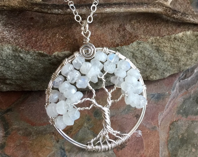 Moonstone Necklace, Moonstone Tree of Life Necklace,Tree of Life Necklace Sterling Silver,Wire Wrapped Tree of life,June Birthstone Necklace