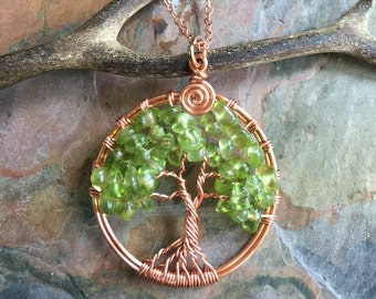 Tree of Life Pendant,Peridot bright Copper Pendant Necklace,August Birthstone,Wire Wrapped Tree of Life