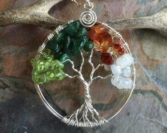Four Seasons Tree, Tree of life Necklace four Seasons in Sterling Silver, Peridot, Dark Jade, Citrine, Moonstone Tree of Life Necklace,