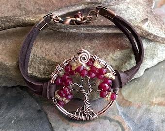Garnet Bracelet,Garnet/Citrine Tree of Life Bracelet Leather,Custom Tree of Life Bracelet,January/November Birthstone Tree of Life Bracelet