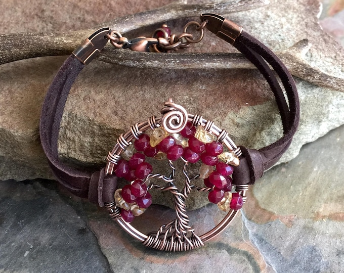 Garnet Bracelet,Garnet/Citrine Tree of Life Bracelet Leather,Custom Tree of Life Bracelet,January/November Birthstone Tree of Life Bracelet