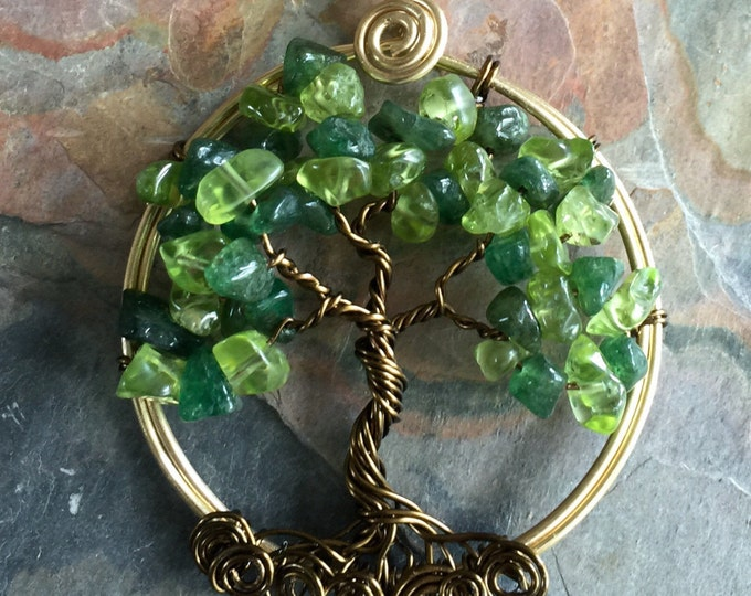 Wire Wrapped Tree of Life Necklace , Peridot / Dark Jade Tree of Life Pendant in Gold  - August Birthstone Tree of Life Necklace