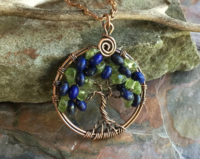 Lapis/Peridot Necklace,Tree of Life Pendant Antiqued Copper, September Birthstone Necklace- Wire Wrapped September Tree of ife Necklace