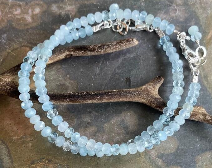 A+++ light Blue Aquamarine Bracelet, Aquamarine Bracelet in Sterling Silver,March Birthstone Bracelet, Aquamarine Bracelet