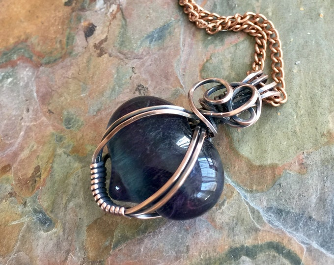 Wire Wrapped Ametrine Blue Quartz Necklace in Antiqued Copper,Quartz Healing Pendant Necklace, Mom Gift, Heart Gemstone Necklace in Copper
