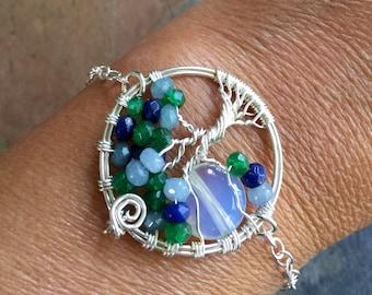 Custom Moon Tree of Life Bracelet in Leather,Aquamarine,Lapis,Emerald Tree of Life Bracelet,Custom Bracelet,Birthstone Tree of Life Bracelet
