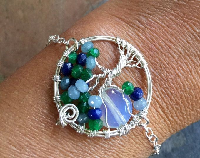 Custom Moon Tree of Life Bracelet in Leather,Aquamarine,Lapis,Emerald Tree of Life Bracelet,Custom Bracelet,Birthstone Tree of Life Bracelet