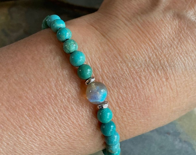 Natural Turquoise Bracelet,Turquoise Labradorite Stretch Bracelet,December Birthstone Bracelet,Yoga Bracelet, Healing gemstone Bracelet