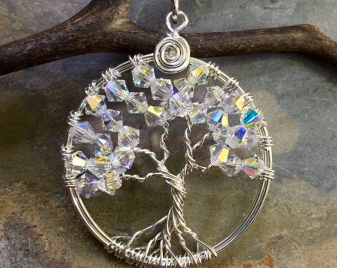 Sterling Silver Petite-Mini-Crystal Tree of Life Pendant -Wire Wrapped Crystal Tree of life Jewelry- April Birthstone,Bridal  Necklace