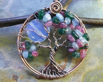 Moon Tree of Life Necklace,CustomFamily Tree of Life Pendant necklace with Birthstones Pendant, Family Moon tree in Copper,Mothers Day Gift
