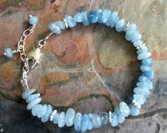 Aquamarine Bracelet, Wire Wrapped Aquamarine Chip Bracelet, March  Birthstone Bracelet, Aquamarine Jewelry, Raw Aquamarine gem Bracelet