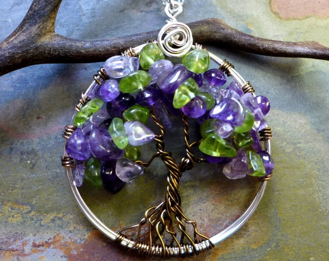 Amethyst/Peridot Tree of Life, wired Amethyst Tree of Life Pendant Necklace, February/Peridot Family Birthstone Tree of life Pendant