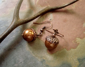 Copper Acorn Copper Pearl Earrings ONLY -Fall/Autumn, Nature inspired. Fall wedding jewelry