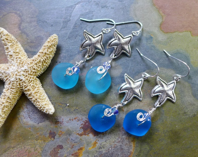 Blue Sea Glass Starfish Earrings in Sterling Silver, Blue Sea Glass Starfish Earrings, Beach Weddings, Starfish Charm Dangling Earrings