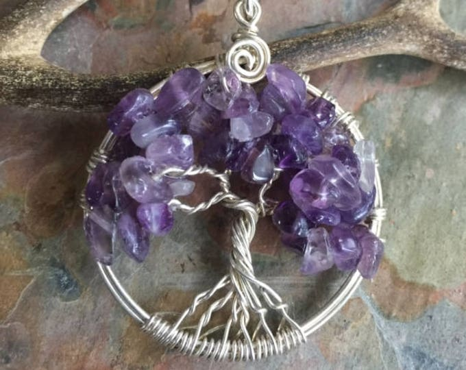 MINI/SMALL Amethyst Tree of Life Pendant necklace-Wire Wrapped February Birthstone Tree of life Pendant Necklace