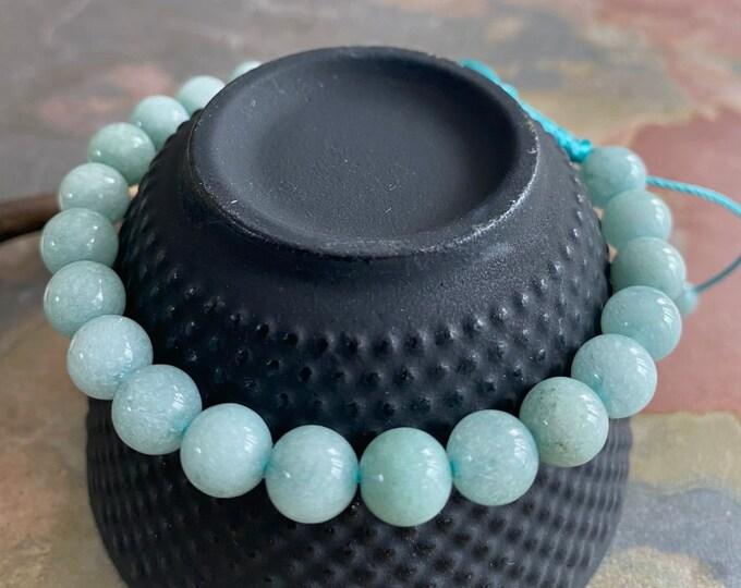8 mm Aquamarine Bracelet,March Birthstone Bracelet ,Aquamarine Yoga Healing Adjustable Macrame Bracelet,Aquamrine  Aquamarine Earrings