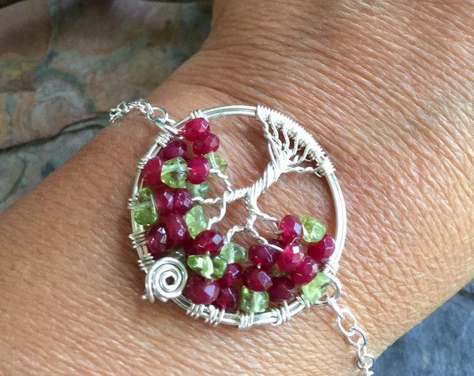 Custom Tree of Life Bracelet in Leather,Ruby/Peridot Tree of Life Bracelet,Ruby Silver Bracelet,July/August Birthstone Tree of Life Bracelet