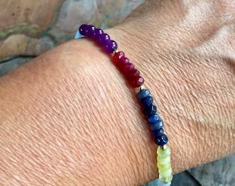 Custom/Personalized Bracelet, custom gemstone Bracelet, Birthstone Stretch Bracelet, Sapphire/ Peridot Jewelry, Peridot gemstone Bracelet