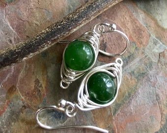 Emerald Earrings Sterling Silver,Wire Wrapped Herringbone Emerald Earrings,Emerald Dangle Earrings,May Birthstone earrings in Gold/Copper