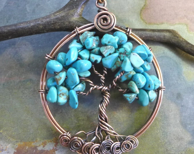 Turquoise Tree of Life Necklace Antiqued Copper,Wire Wrapped Turquoise Tree of Life Copper Pendant,Turquoise Copper Pendant