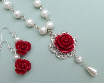 Bridesmaid Red rose Pearl Necklace, Red Rose Earrings,Bridesmaid Pearl Necklace, Red Rose Necklace, Holiday Red necklace Pearl Necklace