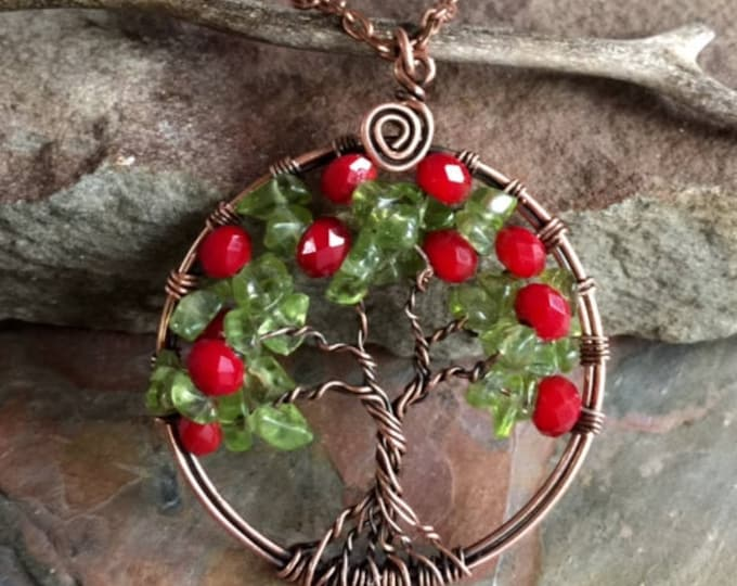 Tree of Life Pendant Necklace- Fruit Tree of life pendant-Wire Wrapped Peridot/ Red Quartz Tree of life Necklace in Copper, July Birthstone